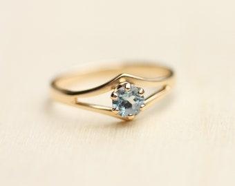 Topaz Gold Ring, Blue Gold Ring, Topaz Ring, Small Gold Ring, Gold Band, Blue Ring, 14K Ring, 14K Gold Ring, Blue Stone Ring, Ring, Size 6.5