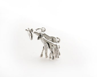 Mother and Child Giraffes Sterling Silver Charm