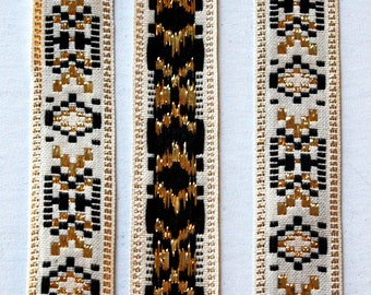 "Jacquard Ribbon -3/4"" x 2 yards Natural, Black and Gold Metallic Vintage Jacquard -See Below"