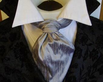Titanium Silver FORMAL Victorian Ascot Tie Cravat - Pure Dupioni SILK