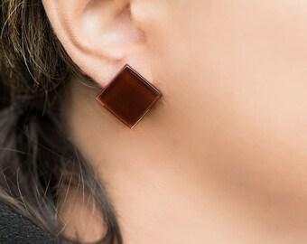 Brown earrings, glass earrings, big earrings, square earrings, large stud earrings, gift for her, everyday earrings