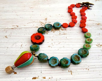 Up, up and away - handmade necklace, ceramic jewellery, hot air balloon necklace, colourful necklace, daisy necklace, songbead, uk