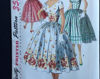 """Simplicity 1159; c 1950's; One piece Dress, """"Simple to Make""""; Bust Size 32""""; Unused"""