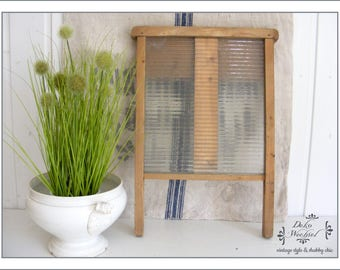 antique washboard - wood with glass handle insert