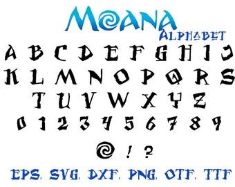 Moana Alphabet, moana font svg, svg font, Svg, Dxf, Eps, Png, Alphabet letters, Calligraphy printables, Cursive Disney Svg Font, font svg