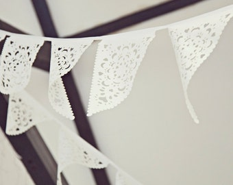 White Wedding fabric bunting, White lace garland