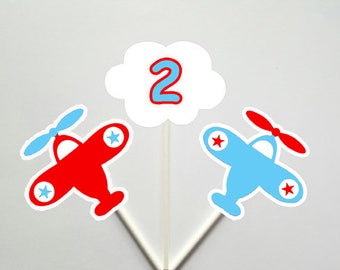 Airplane Cupcake Toppers, Plane Cupcake Toppers, Airplane and Cloud Cupcake Toppers