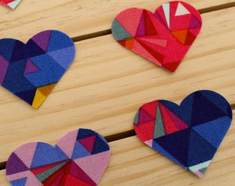 Geometric Handmade Fabric Heart Stickers/ Washi Tape/ Gift Wrapping/ Packaging Supplies/ Planner Accessories/ Craft Supplies/ Crafts/ DIY