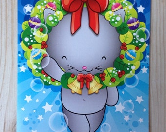 Christmas Kawaii kitty Card, Kawaii Christmas Card. Kawaii Cat Card, Cat Greetings Card, Cute Kids Christmas Card, Cat Xmas Card, Cute Card