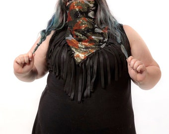 READY TO SHIP Festival Fringe Camouflage Bandana Camo Sequin Rave Outfit Scarf Festival Outfit