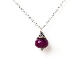 Clearance sale Magenta purple pink faceted stone pendant silver necklace