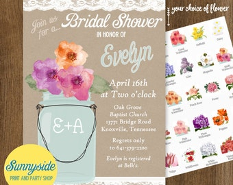 Mason Jar Bridal Shower Invitation with Lace, Rustic Country Wedding Shower Invite, printable or printed, you choose flower!
