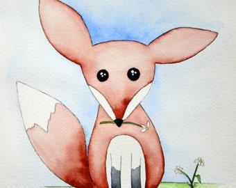 "Whimsical Fox 8"" x 10"" Original Watercolor Illustration"