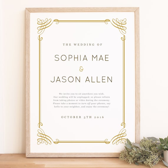 Instant download wedding welcome sign template classic frame instant download wedding welcome sign template classic frame word or pages mac and pc 18x24 or 24x36 editable colors stopboris Choice Image