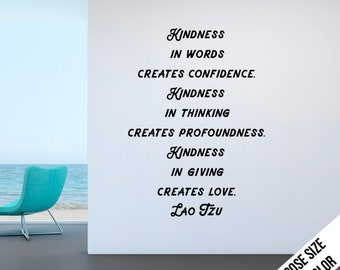 Kindness in words creates... Lao Tzu Quote, Customizable Vinyl Decal, Chinese, Classroom Wall, Minimalist, Spiritual, Zen, Taoism - Playful