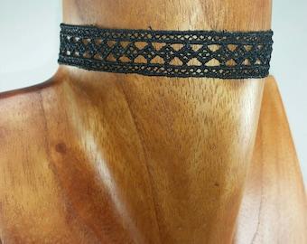 Black Choker Necklace - Black Crochet Necklace - Black Necklace Crochet Choker - Choker Black