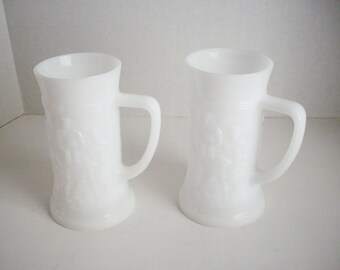 Vintage Milk Glass Beer Stein Mug Relief Glass Pub Scene Set of 2