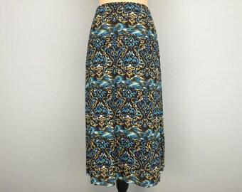 Plus Size 22 Skirt Bohemian Womens Skirts Cotton Brown Blue Tan Skirt Summer Skirt Office Clothing 2X Skirt Womens Plus Size Clothing
