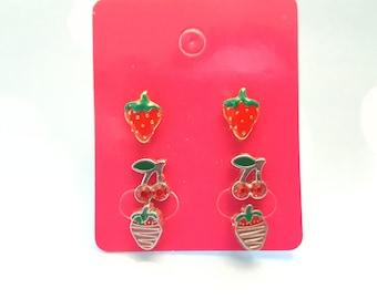 Fruit Chocolate Strawberry Cherry Stud earrings