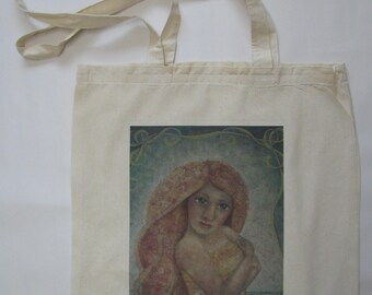 linnen tas, Riann, vrouw, portret, Poëtisch Realisme, verzamelen, print, cadeau, verjaardag, winkelen, school, meisje, shoppen, romantisch