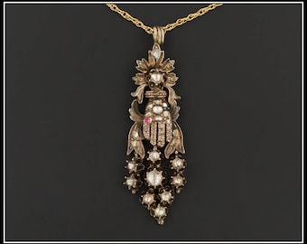 Antique Diamond Hand Pendant | Early Victorian Diamond Hand Pendant with Optional 14k Chain | Diamond Pendant or Necklace