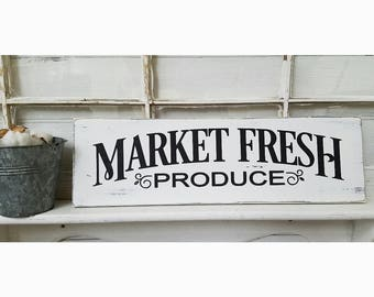 """Market Fresh Sign, Rustic Wood Sign, Farmhouse Style Sign, Wooden Sign, Wall Decor, Wall Hanging, 24"""" x 7.25"""""""