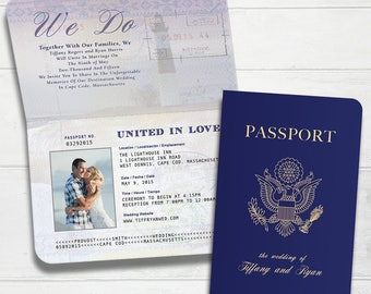 Traditional Passport Boarding Pass Destination Wedding Invitation - Megan Elizabeth Designs