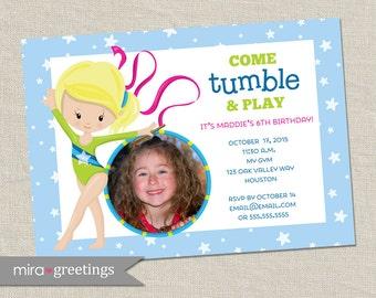Gymnastics Birthday Party Invitation - Printable Digital File