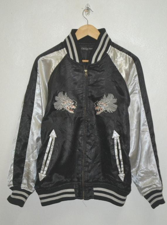souvenir motive embroidery Vintage dragon sukajan jacket satin cloud Rzqn57xOn