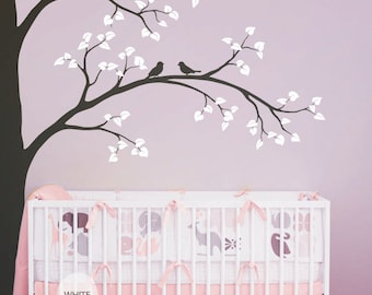 """Tree Wall Decal Baby Nursery Wall Decoration Tree Wall Sticker Corner Tree Wall Art Mural decor - Large: approx 93"""" x 67"""" - KC001"""