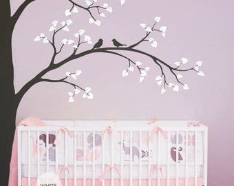 """Large Tree Wall Decal Nursery Wall Decoration Corner Tree Wall Sticker Mural Tree Wall decals Wall Art - Large: approx 93"""" x 67"""" - KC001"""