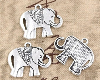 6 Elephant Charms Antique Silver Tone Charms Baby Elephant Charms Charm Bracelet Bangle Bracelet Pendants #243