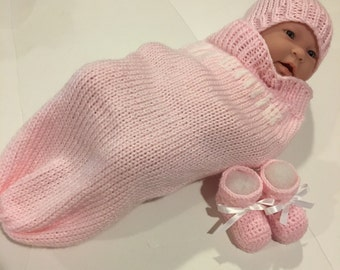 Knitted baby sleep sack-Personalized baby blanket-Baby blanket-Knit baby blanket-Crochet baby blanket-Pink baby blanket-Girl baby blanket