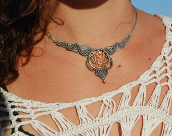 Macrame Lotus Necklace