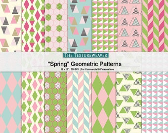 "Digital papers ""Spring"" geometric patterns - pink and green triangle patterns - diamond patterns digital collage - cardstock geometric"