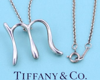 Vintage letter pendant etsy tiffany and co sterling silver elsa peretti letter m pendant necklace alphabet series aloadofball Choice Image