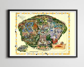 1995 DISNEYLAND 40 Years of Adventure Poster! (24 x 36 or Smaller) - Reproduction - Wall Decor - Disneyana - Theme Park
