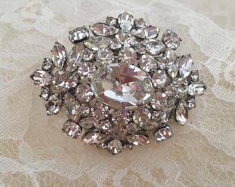 Austrian Domed Brooch Clear Faceted Crystal Rhinestones