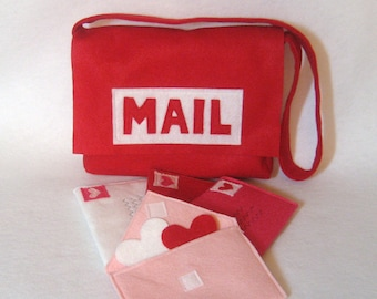 Red Mail Set, Mail Bag with Working Envelopes for Pretend Play, Mailman costume, Play Mailman, Post Office, Custom Order