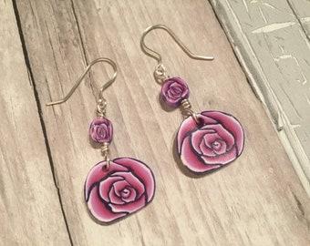 Polymer clay drop earrings, purple earrings, rose earrings, cute earrings, fashion earrings, long drop earrings, statement earrings,