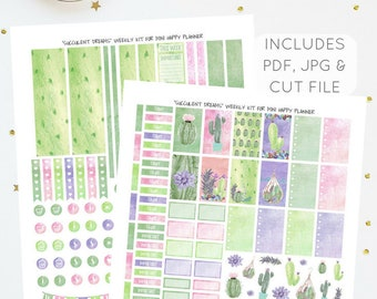 Succulent Dreams - Weekly Kit for Mini Happy Planner   Printable Planner Stickers   Incl. PDF, JPG, Silhouette Cut File   Instant Download