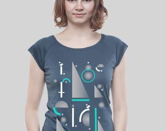 """Bamboo Raglan Shirt Women Denim Blue """"Geometric"""""""
