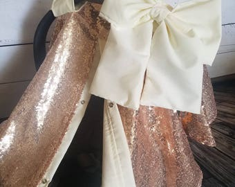 Carseat Cover Elegant Rose Gold Sequin Cover with Large bow nursing cover carseat canopy car seat cover car seat canopy car seat