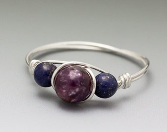 Lepidolite & Lapis Lazuli Sterling Silver Wire Wrapped Bead Ring - Made to Order, Ships Fast!