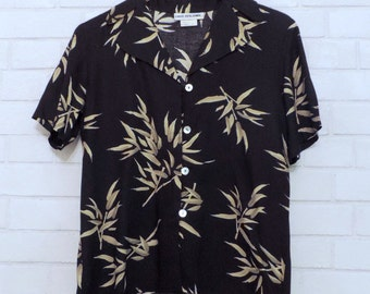 Tropical Bamboo Pattern Flowy Vintage Button-Down Top