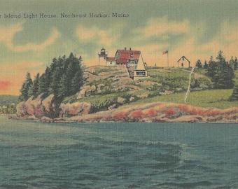 Vintage 1940's Linen Postcard of Bear Island Lighthouse on Northeast Harbor in Maine