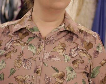 Vintage 70s floral Disco shirt, XL