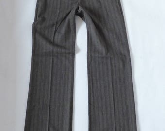 Women's Vintage ZARA Zip Fly Stretch Bootcut Tailored Brown Rayon Pants Size US4 UK8 L32