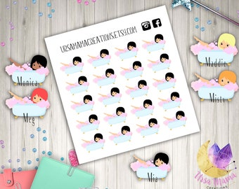 Bathtub Chibi Planner Girl Bath Time Stickers