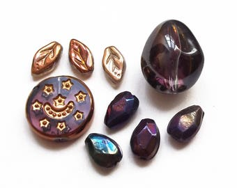 Mix 9 purple and gold glass beads